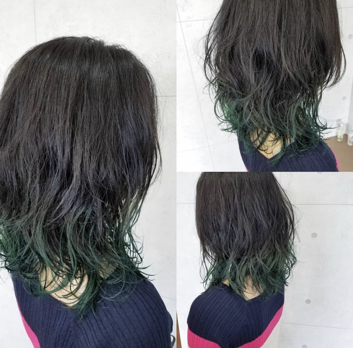 グリーン系裾カラー